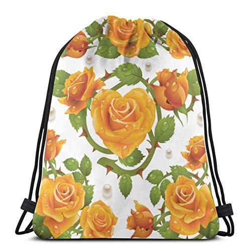 Lsjuee Rose Design ElementsDrawstring Backpack Sports Fitness Backpack Waterproof Men's and Women's Waist Bag Travel Yoga Beach School