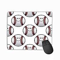 マウスパッドカスタムデザインゲーミングマウスパッドゴム長方形マウスマット野球スポーツバックグラウンドかわいい漫画ボールスポーツデザイン多彩