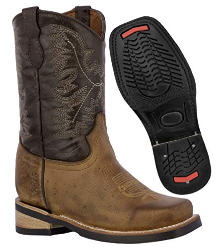 Kids Rustic Brown Western Cowboy Boots Distress Leather Square Toe 7 Toddler