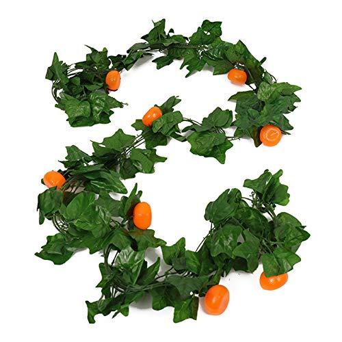 QKFON 5 unidades por cadena de hojas grandes, guirnalda de frutas artificiales, vides vegetales, plantas colgantes para el hogar, boda, fiesta, jardín, oficina