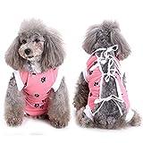 SELMAI Body Post-Operatori per Cani Recupero Vestito E Collare Vestiti Gatto Indossare per Malattie della Pelle Ferite Cura Chirurgica Animale Domestico Prevenire Leccare Design a Zampe Rosa L