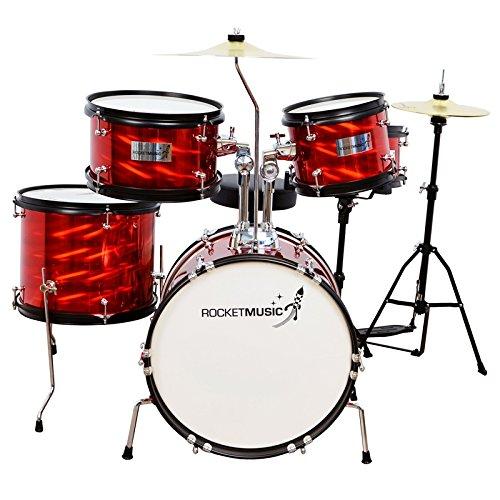 A-Star Rocket Junior Pro Kinder Schlagzeug Drumset (geeignet von 5-10 Jahren) mit Zubehör, Rot