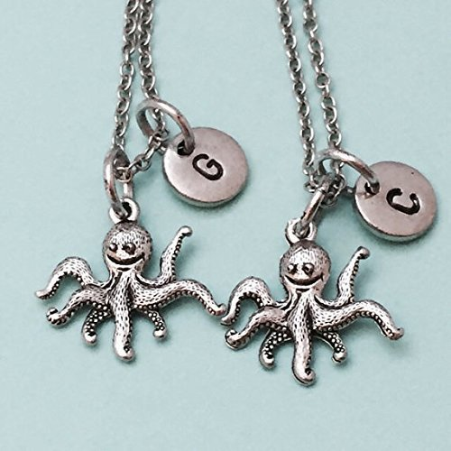 Best friend necklace, octopus charm necklace, sea animal, bff necklace, sister necklace, friendship jewelry, friends, personalized, initial