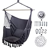 Kanchimi Hanging Chair-Max 330 Lbs.Large Hammock Chair with Detachable Metal Support Bar& Side Pocket.Hanging Rope Swing for Patio Bedroom or Tree- 2 Removable Seat Cushions Included(Grey)