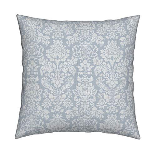 Ad4ssdu4 Damask Pillow Balmoral Damasco Blanco sobre Versalles Fog Square Sofá decorativo