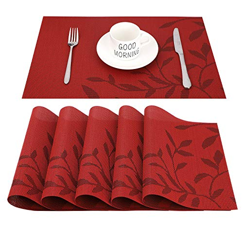CHAOCHI Placemats set of 6,Easy to Clean Non-slip Heat Resistant Dining Table Mats,Washable Crossweave Woven Vinyl PVC Place mats,45CM x 30CM (Red)