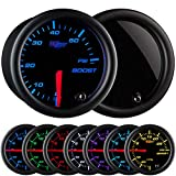 GlowShift Tinted 7 Color 60 PSI Turbo Boost Gauge Kit - Includes Mechanical Hose & Fitting...