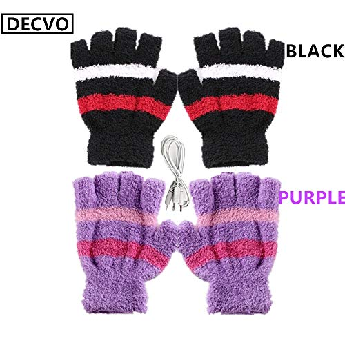 DECVO USB 2.0 Powered Stripes Heating Pattern Knitting Wool Heated Gloves Fingerless Hands Warmer Mittens Laptop Computer Warm Gloves for Women Men Girls Boys 2 Pack (Purple+Black)