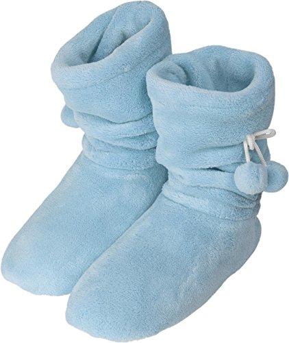normani Damen Hausschuhe Hüttenstiefel Flausch gefüttert mit Bommel und Rutschfester Sohle Farbe Hellblau Größe 39-42 EU