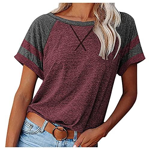 Damen übergröße T Shirt V Ausschnitt Oberteile Rosa Wardrobe Damen Tshirt Oberteil Glitzer Damen Leinenhemd Herren Longshirt Schwarze Blusen Dament Shirt Frauen (Red, S)