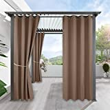 RYB HOME Outdoor Patio Curtains - Gazebo Waterproof Outdoor Curtain Deck Reduce Exterior Summer Heat Stain Proof Drapes for Front Porch Pergola Garden Decoration, 1 Pc, Width 52 x Length 84, Mocha