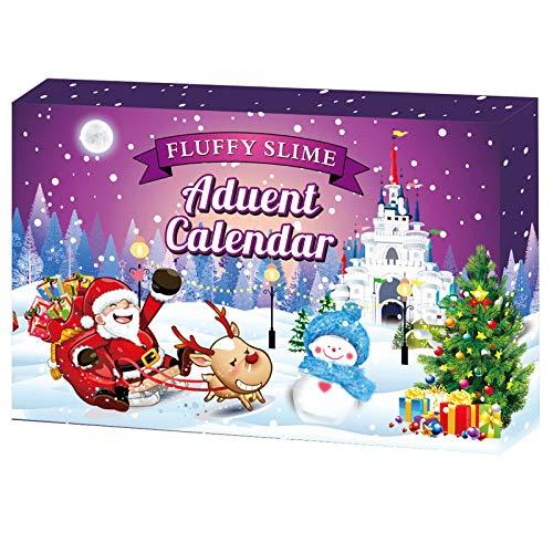 Kinder Adventskalender 2020 Weihnachten Slime Kit, 24 Stück Schleim Kit Verschiedene Countdown-Kalender Spielzeug, Mädchen oder Jungen