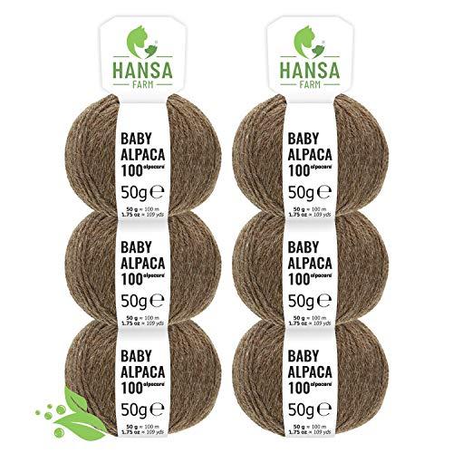 Alpacare 100% waschbare Baby Alpakawolle in 25 Farben - 300 Set DK (6 x 50g) - Die 1. maschinenwaschbare 100% Alpaca Wolle - kratzfreie Alpaka Wolle zum Stricken & Häkeln - Braun