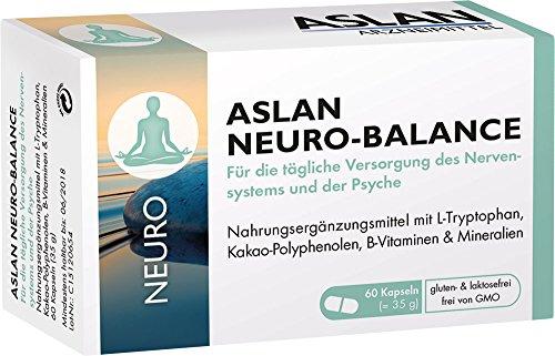 Aslan Neuro-Balance (60 Kapseln) - Nahrungsergänzungsmittel mit L-Tryptophan Vitamin B-Komplex für das Nervensystem, die Psyche und für ein schnelleres Einschlafen