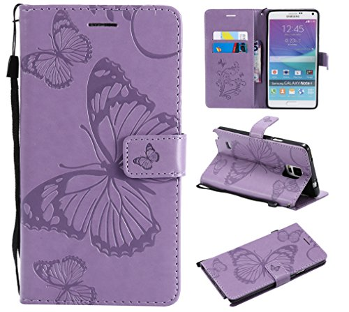 Note 4 Case,Note 4 Wallet Case,Galaxy Note 4 Case with Card Holder,Folio Flip PU Leather Butterfly Case Cover with Credit Card Slots Kickstand Phone Protective Case for Samsung Galaxy Note 4,Purple