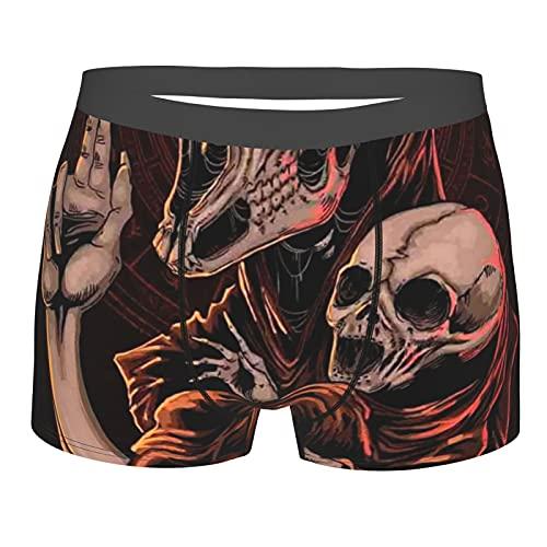 Ropa interior para hombre Boxer calzoncillos cortos suaves de pierna corta – Baphomet Satanic cabeza de cabra bebé cráneo