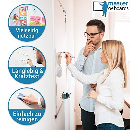 MOB Whiteboard – Sieger Preis-Leistung (Note 1,4) – 13 Größen – magnetisch und beschreibbar – Magnettafel Magnetwand – mit Aluminium-Rahmen, Stiftablage – für Hoch- und Querformat – 90 x 120 cm - 3