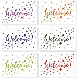 36 Assorted Pack Welcome Note Cards - Bulk Box Set - Blank on The Inside - 6 Colorful Star Pattern Designs - Includes 36 Greeting Cards and Envelopes - 4 x 6 Inches WELCOME GREETING CARD BOX SET: 36 pack of welcome greeting cards in colorful star des...
