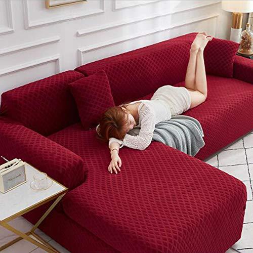 Funda de sofá Fundas de sofá elásticas en Forma de L Funda de sofá Universal (El sofá de Esquina en Forma de L Necesita Comprar Dos),Rojo,4 Seater