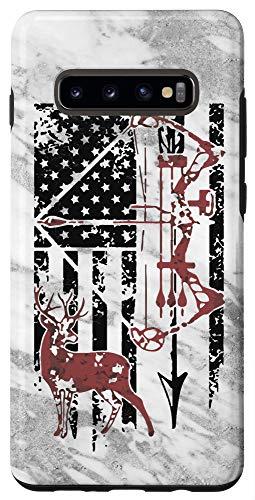 Galaxy S10+ Grey American USA Flag Deer Bow Archer Hunter Hunting Case