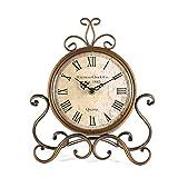 HZDHCLH Reloj de mesa de 28 cm de altura silencioso, no hace tictac, estilo romano, retro, para sala de estar, dormitorio, oficina (dorado)