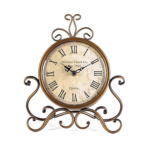 HZDHCLH Orologio da tavolo da 28 cm di altezza silenzioso senza ticchettio, stile romano, stile retrò, per soggiorno, camera da letto, ufficio (oro)