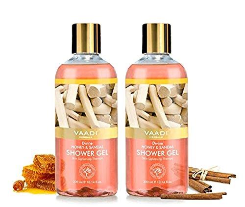 Gel douche - Sulfate-Free - Gel nettoyant corporel pour hommes et femmes - 300 ml (10.14 oz liq) - Vaadi Herbals (miel divin & sandale) (2 bouteilles)