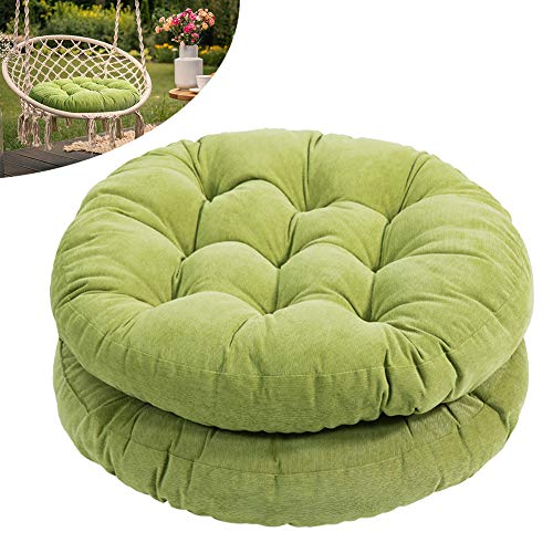 Tiita Round Chair Cushions 22'x22' Indoor/Outdoor Floor Pillows Cushion for Patio Furniture Seat Pads Meditation Pillow for Yoga Living Room Sofa Balcony Set of 2, Green