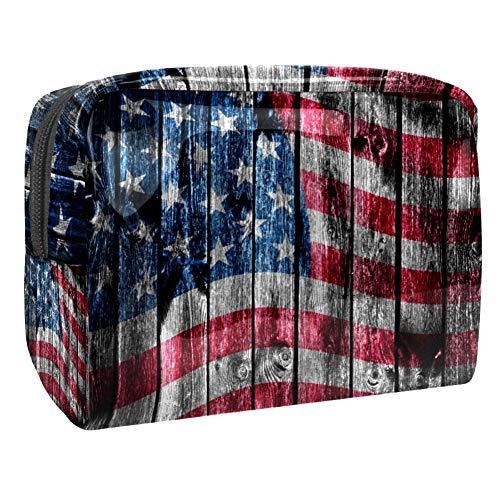 Trousse de toilette multifonction pour femme - Motif drapeau américain - Bois rustique