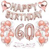 Compleanno Festa Decorazioni, 60 Anni Compleanno Decorazioni per Donna, Oro Rosa Striscione di Happy Birthday Numero Foil Palloncini Palloncini Lattice Ballon, feste per il trentesimo compleanno