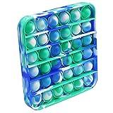 Fidget Toy Cheap Push Pop Fidget Toy, Push Pop Bubble Sensory Fidget Toy Silicone Pop Bubble Sensory Silicone Toy Simple Dimple, Stress Reliever (Blue/Green/White Tie Dye-Square)