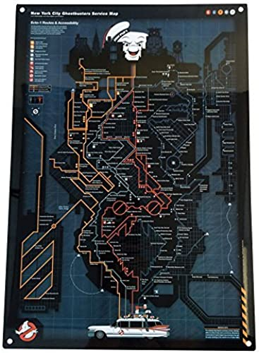Factory Entertainment Ghostbusters NYC Subway Map Metal Sign by Factory Entertainment