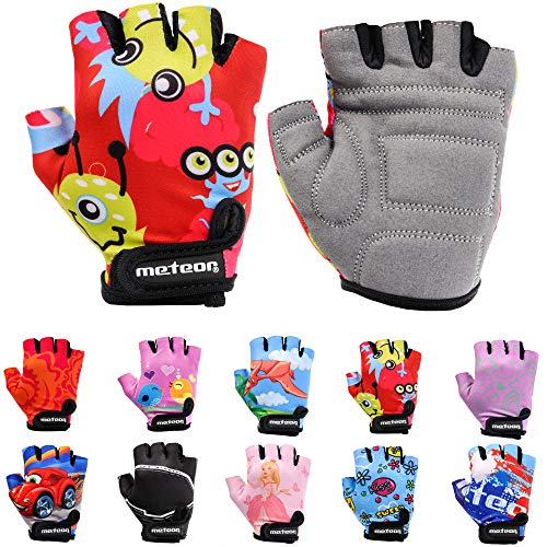 Meteor Unisex Kinder Fahrradhandschuhe Bike - Gel BMX Handschuhe, MONSTER, Gr.-Jr M/ Handweite- 7-7.5cm