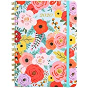 """2020 Planner - Weekly & Monthly Planner with Tabs, 6.3"""" x 8.4"""", Hardcover with Back Pocket + Thick Paper + Banded, Twin-Wire Binding - Mint Floral"""