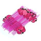 BESTOYARD 50 stücke Flamingo Trinkhalme, 3D Papier Deko Strohhalme für Hochzeit Weihnachten Neujahr Party (Rose Rot)