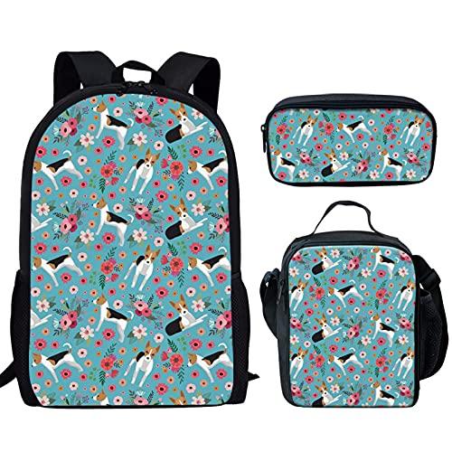 Howilath Juego de bolsas escolares de 17 pulgadas, diseño divertido para adolescentes y niñas con estuche para lápices, Rata Terrier floral, 17 inch (3PCS Set), Juego de bolsos escolares