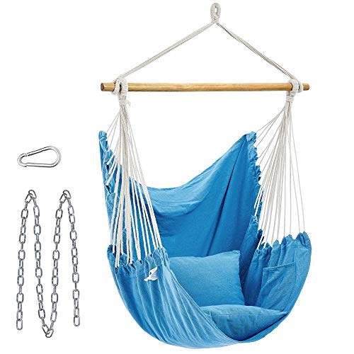 SONGMICS Hammock Chair, Large Swing Chair with 2 Pillows, Hanging Chair with Chain, Load Capacity 330 lb, for Indoor, Outdoor, Living Room, Bedroom, Blue UGDC187Q01
