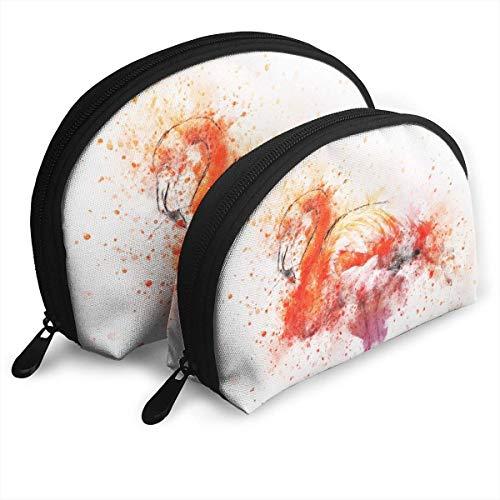 XCNGG Red Flamingo Painting Art Aufbewahrungstasche Geldbörse Kosmetische Reise Aufbewahrungstasche Eine große und eine kleine 2-teilige Schreibwaren Bleistift Multifunktions-Tasche Kinder Brieftasche