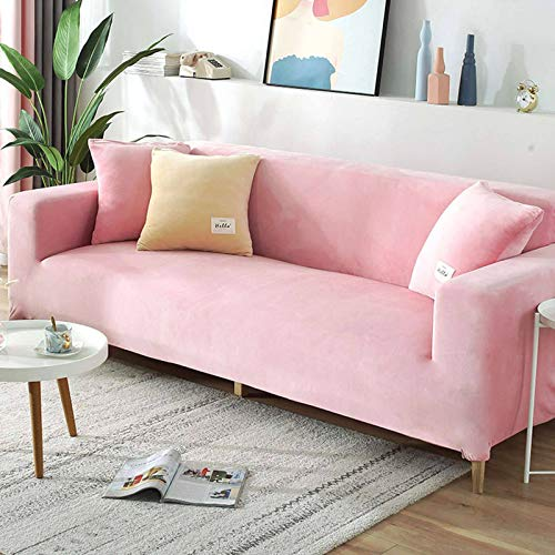 Stretch Sofa Slipcover, Couch Sofa Cover Velvet Water Resistance, Ultra Soft Elastic Bottom Non Slip Furniture Protector For Kids Cat Dog-3Seater 190-220CM (75-86in)-Pink