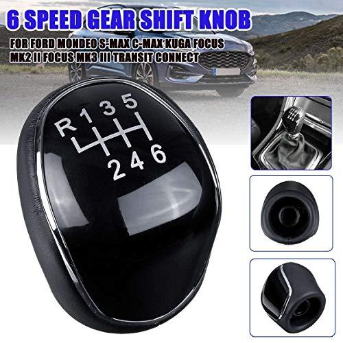 ZREED Schaltknauf 6-Gang Schaltknauf Schalthebel-Stick Hebel for Ford/Mondeo Mk3 Mk4 IV 4 / Focus MK2 Mk3 III/S-Max/C-Max Kuga/Galaxy Mk2 Mk3 Für Autos (Color : Black)