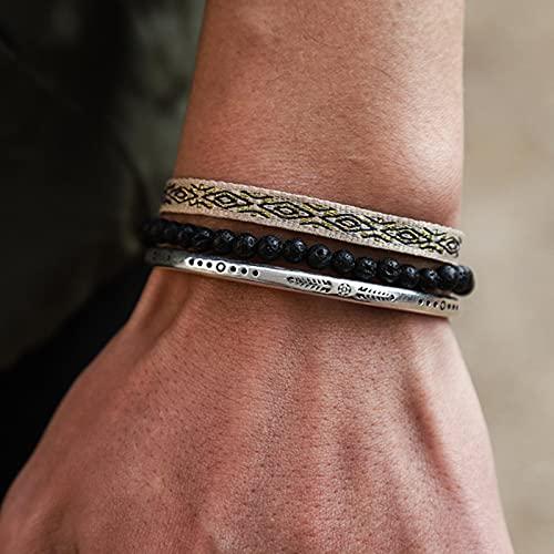 SONGK Charm Friendship Pulsera Multicapa brazaletes para Mujer Hombre Cuentas de Piedra Natural joyería de Moda de la Suerte