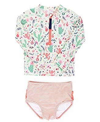 RuffleButts Baby/Toddler Girls Desert Blossoms Long Sleeve Zipper Rash Guard Bikini - 6-12m