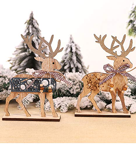 Surplex Set of 2 Christmas Wooden Decoration Reindeer Figurines, Standing Elk Ornaments, DIY Decor for Home Kitchen Office Desk Mall Window, Christmas Supplies Centerpiece Xmas Party Favor Gift
