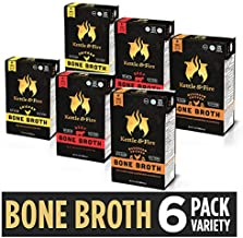 Whole 30 Approved Bone Broth 2 Beef, 2 Chicken, and 2 Mushroom Chicken Variety Pack by Kettle and Fire, Keto Diet, Paleo Friendly, Snack Foods, Gluten Free, with Collagen, 16.2 fl oz (Pack of 6) …