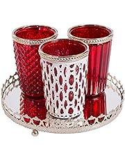 Home&Decorations - Portavelas de Cristal con Placa de Espejo, 3,5 x 19 cm, Color Rojo