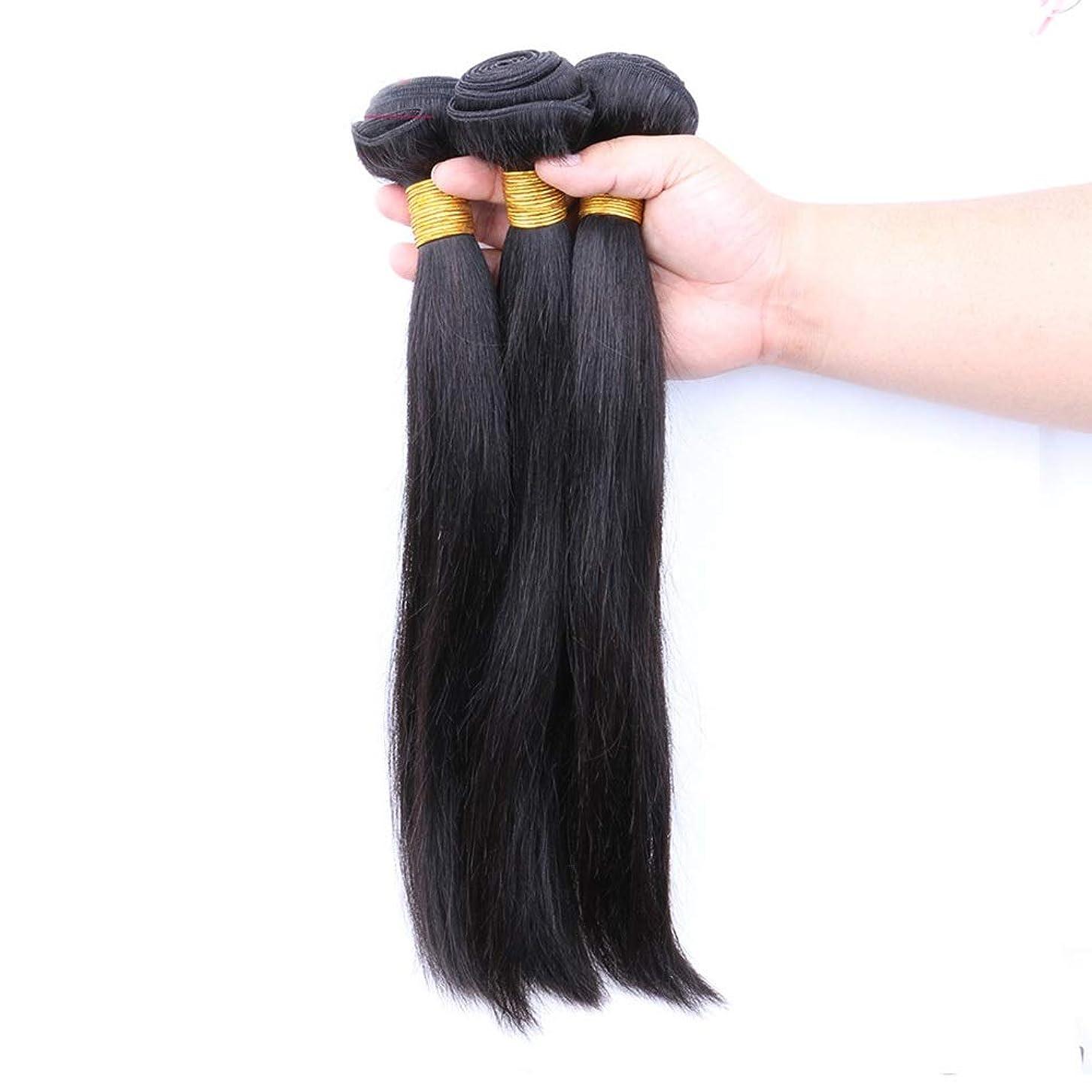 アジア人天井男BOBIDYEE ブラジルのストレート人間の髪の毛の束シルキーストレートバージン人間の髪織りエクステンションナチュラルブラック複合毛レースのかつらロールプレイングかつら (色 : 黒, サイズ : 14 inch)