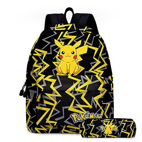 Rpporm Bolsas de la escuela de Pokemon negro de dibujos animados mochilas lindas figuras de anime Pikachu bolsas de gran capacidad bolsa de viaje niñas niños incluyendo estuche