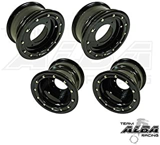 TRX 450R TRX 400EX Beadlock Set of 4 Wheels Rims - Compatible with Honda - Rear 9x8 Front 10x5 4+1 Black/Black