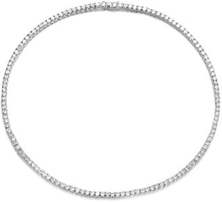 Mytys Tennis Choker Necklace Silver Plated CZ Cubic Zirconia Tennis Link Necklace for Women