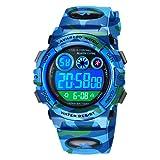 Orologio digitale per bambini, impermeabile, sportivo, in silicone, con sveglia, cronometro, data, 05-blu, Cinturino